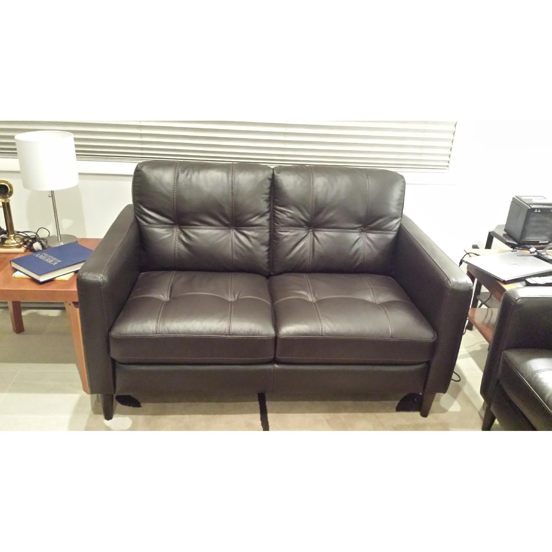 Macy S Keaton Leather Mid Century Modern Loveseat Aptdeco ~ Leather Mid Century Modern Sofa