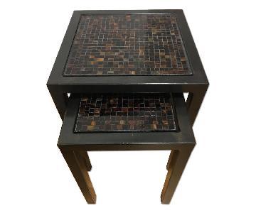 Room & Board Nested Steel & Tile End Tables in Black