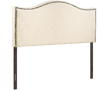Modway Full Nailhead Upholstered Headboard in Ivory