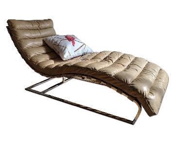 Restoration Hardware Oviedo Leather Chaise Lounge