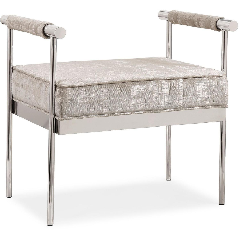 TOV Furniture Diva Silver Textured Bench