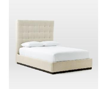 West Elm Plinth Upholstered Bed Frame in Oatmeal