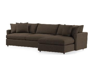 Crate & Barrel Brown Microsuede Sectional Sofa