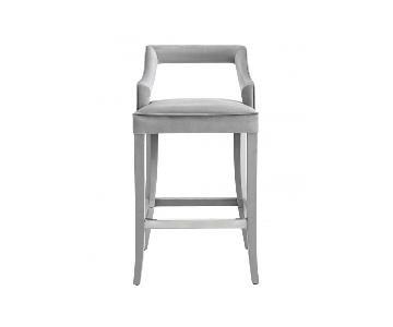TOV Furniture Tiffany Grey Velvet Bar Stool