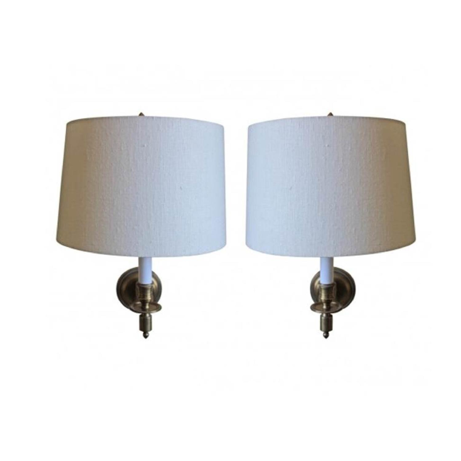 Visual Comfort Brass Swing Arm Wall Lamps - Pair