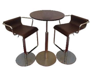 Jensen-Lewis Brio Adjustable La Palma Bar Table w/ 2 Vertigo Adjustable Bar Stools