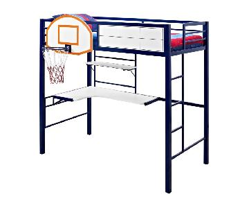 Hoops Metal Basketball Twin Loft Bed