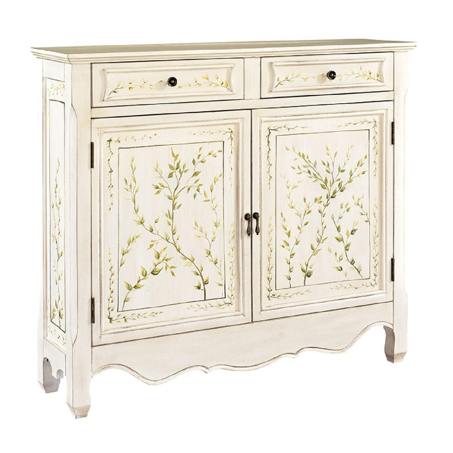 Powell White Hand Painted 2 Door Console Aptdeco