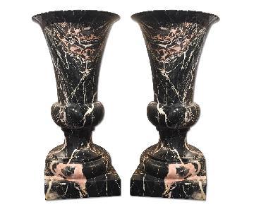 Marble Urns - Pair