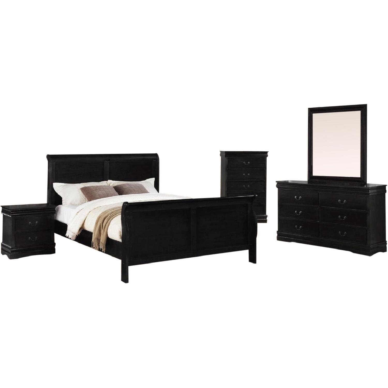 Louis Philippe 4 Piece Queen Size Bedroom Set in Black Finish