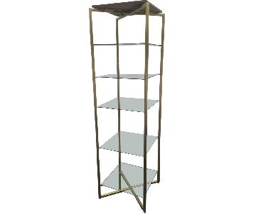 Tall Vintage Brass Etagere Shop Display