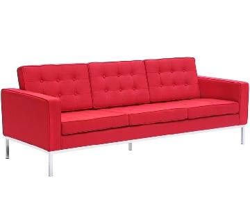FineMod Mid-Century Style Sofa in Red Wool Fabric