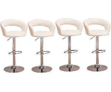 White Swivel Barstool w/ Back & Armrests - Set of 4