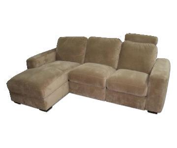 Palliser Microfiber Sectional in Camel w/ Recliner Chair