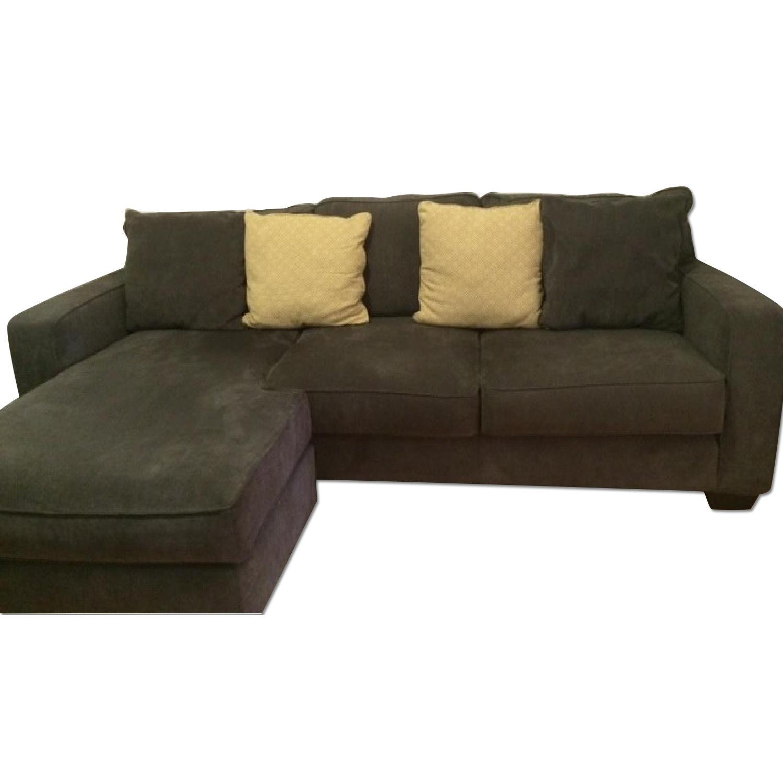 Ashley S Grey Sofa Sectional W Chaise Lounge Pillows Aptdeco
