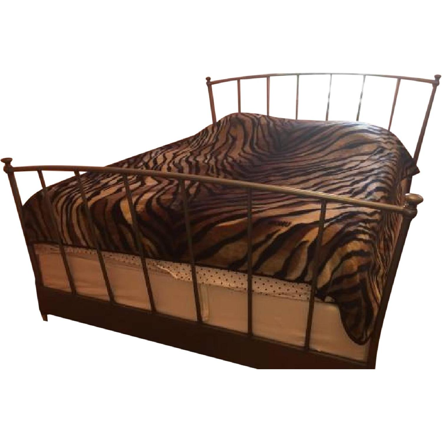 Silver Metal Queen Size Bed Frame