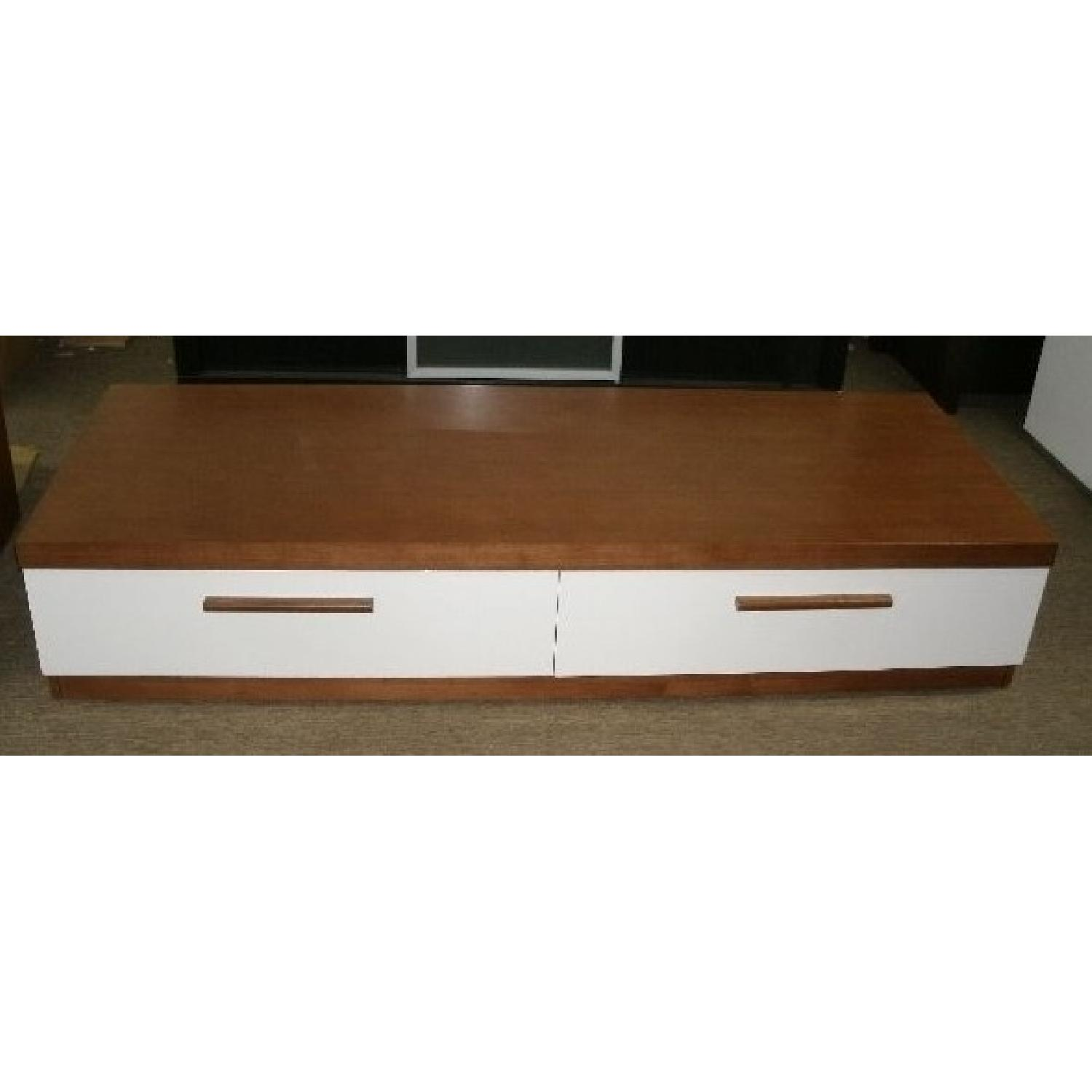 Dining Room Furniture Deals Modern Low Profile Walnut White Tv Stand Aptdeco