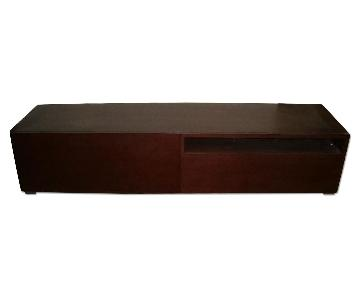 Long Modern Low Profile TV Stand in Wenge Finish