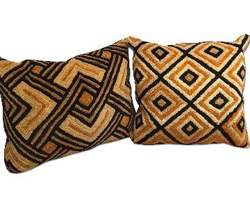 African Cuir Cloth Down Pillows - Pair