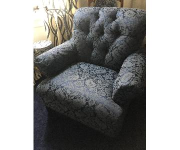 Ralph Lauren Navy Blue Damask Club Chair