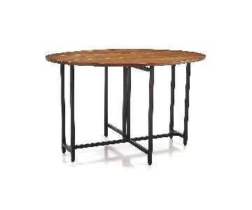 Crate & Barrel Origami Drop Leaf Oval Dining Table