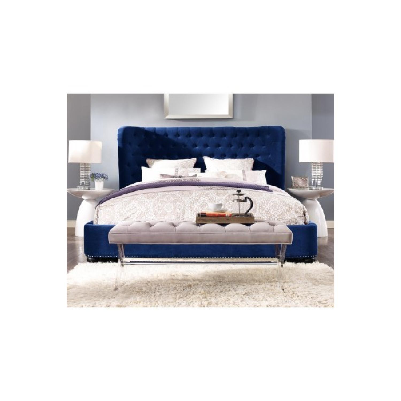TOV Furniture Finley Blue Velvet King Bed-0