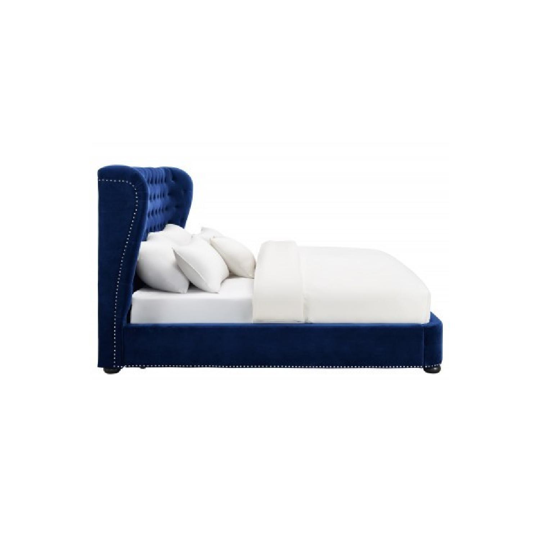 TOV Furniture Finley Blue Velvet King Bed-1