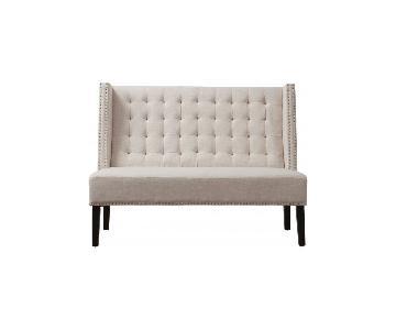 TOV Furniture Halifax Beige Linen Banquette Bench