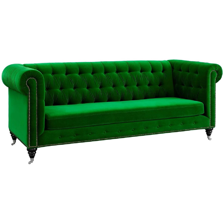 TOV Furniture Hanny Green Velvet Sofa