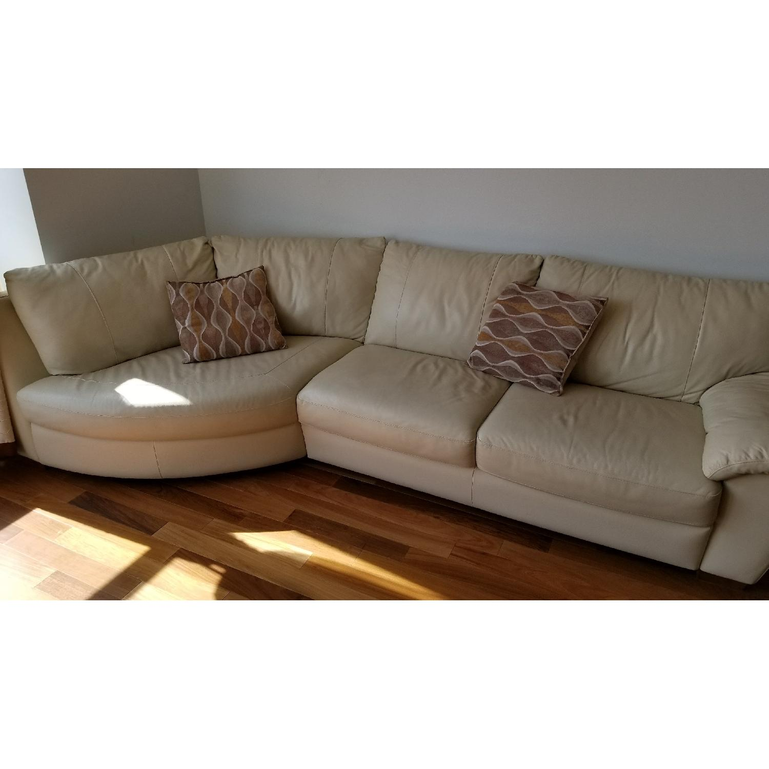 Beige Leather Sectional Sofa ...