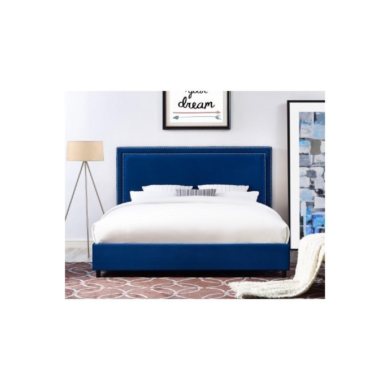 TOV Furniture Reed Navy Velvet King Bed
