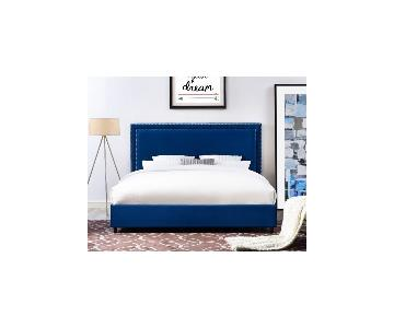 TOV Furniture Reed Navy Velvet King Bed