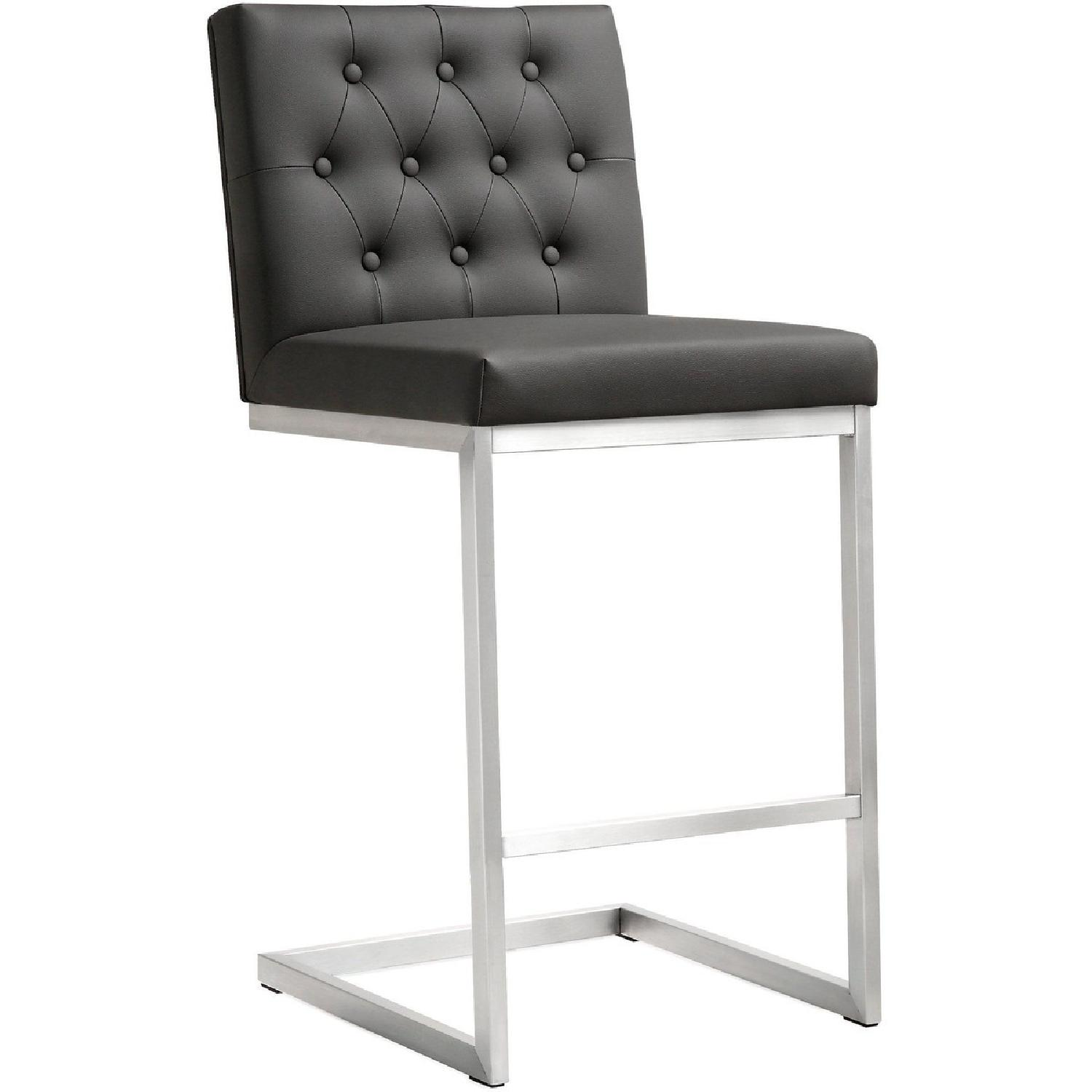 TOV Helsinki Grey Stainless Steel Set of 2 Counter Stools
