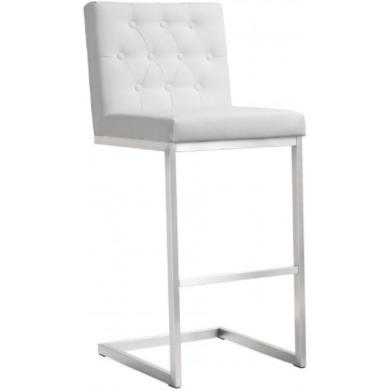 Tov Furniture Helsinki White Stainless Steel Barstools