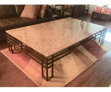 Custom Marble & Wrought Iron Coffee Table