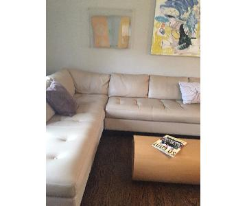 Bloomingdale's Beige Leather 2-Piece Sectional Sofa