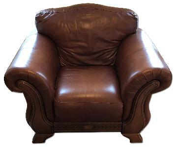 Macy's Full Grain Italian Leather Accent Chair