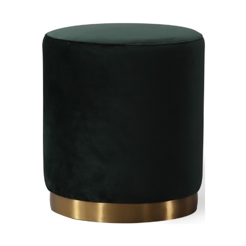 TOV Furniture Opal Green Velvet Ottoman