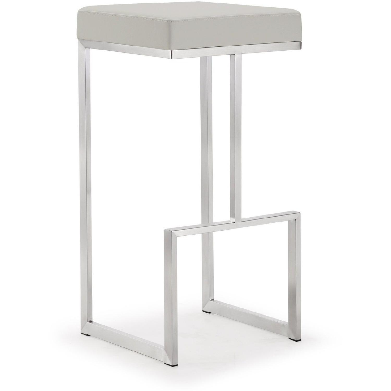 TOV Furniture Ferrara Light Grey Steel Set of 2 Barstools