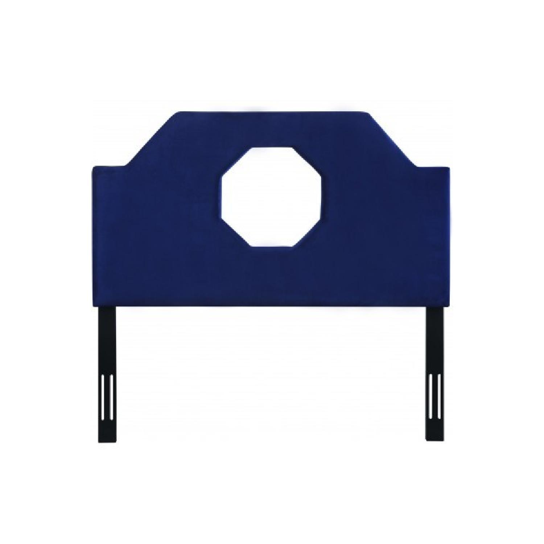TOV Furniture Noctis Queen Headboard in Navy Velvet