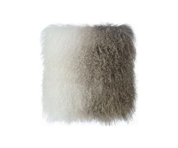 TOV Furniture Tibetan Sheep Pillow White to Brown