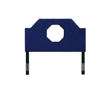 TOV Furniture Noctis King Headboard in Navy Velvet