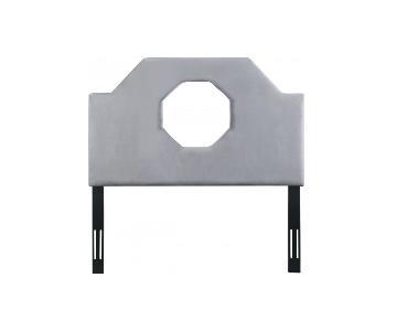 TOV Furniture Noctis Full Headboard in Grey Velvet