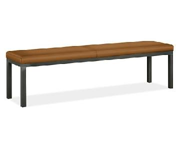 Room & Board Leather Bench w/ Brushed Chrome Legs