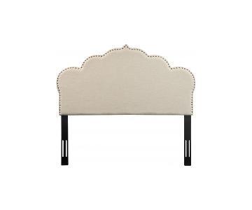 TOV Furniture Noches King Headboard in Beige Linen