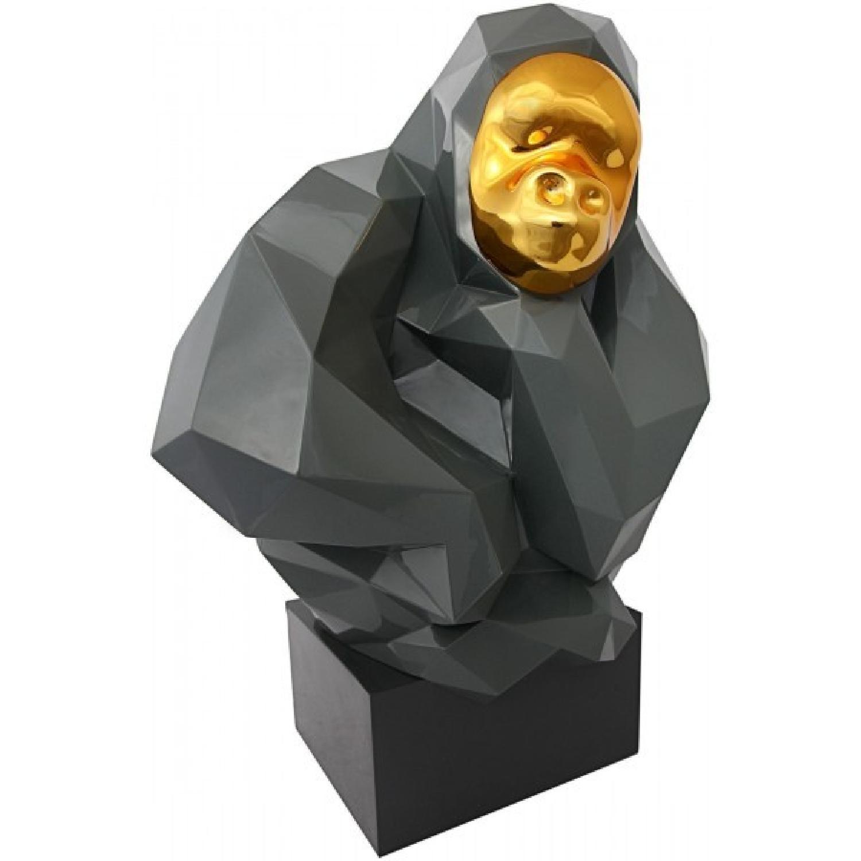 TOV Furniture Pondering Ape Sculpture in Grey & Gold