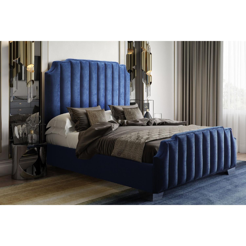 TOV Furniture Natalie Navy Velvet King Bed
