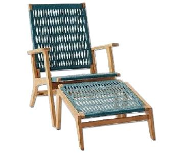 West Elm Catskill Wood & Wicker Outdoor Chair & Ottoman