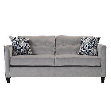 Raymour & Flanigan Kierland Grey Microsuede Couch