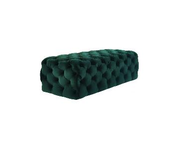 TOV Furniture Kaylee Jumbo Green Velvet Ottoman